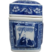 Blue and White Lidded Asian Rectangular Container
