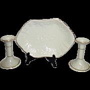 Lenox Fruits of Life Candlesticks 1989 Candy Dish 1993 Fine Ivory China