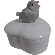 Otagiri Heart Shaped Box with Young Bird Figurine