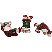 Three Frolicking Ceramic Santas Taiwan FF Company