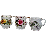Set of three English Fine Bone China Floral Mugs with Gold Trim