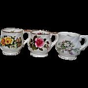 Set of Four English Fine Bone China Floral Mugs