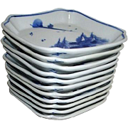 Set of 12 Small Blue and White Sauce or Dessert Shallow Bowls
