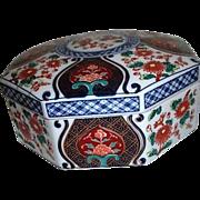 Japanese Octagonal Ceramic Lidded Box with Chrysanthemums
