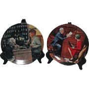 Set of Two Norman Rockwell Collector Plates The Jeweler and The Professor