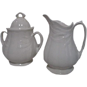 Adams & Sons Ironstone Cream and Sugar Set Wheat Pattern from 1800's