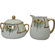 Cream and Sugar Set with Yellow Daisies Lusterware and Gold Trim by Porzellanfabrik Herman Ohme 1900-1920