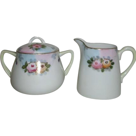 Older Nippon Individual Sized Cream and Sugar Set Gold Trim