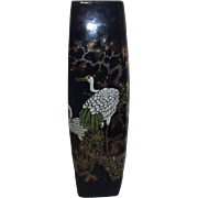 Cobalt Blue Japanese Vase with Textured Transfer of Two White Cranes