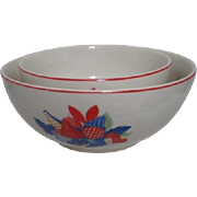 Set of Two Calico Fruit Graduated Mixing Bowls by Universal Potteries