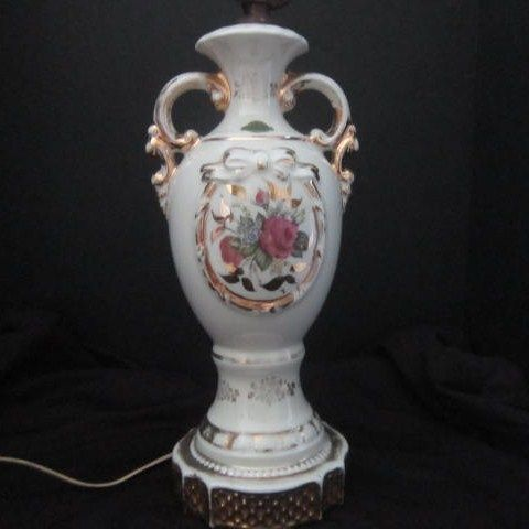 Vintage Hand Painted Ceramic Lamp Base Something