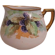 French Limoges Hand Painted Grape Motif Gold Trim Pitcher by William Guerin