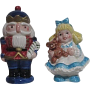 Fitz & Floyd Girl and Nutcracker Christmas Salt & Pepper Set