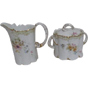 Monbijou Cream and Sugar Set Small Sprays of Flowers on Cream Background