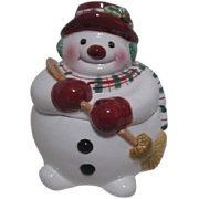 Fitz & Floyd Christmas Snowman Candy Jar  Original Box