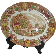 Large Platter Wood & Sons England Light Browns Scenery
