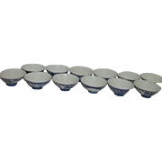 Set of 10 Blue and White Asian Rice Bowls