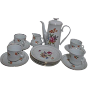 High Tea or After Dinner Set Coffee Server 4 Cups, Saucers, Dessert Plates and Creamer
