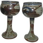 Pair of Unsigned Pottery Chalices