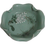 Small Celedon Bowl with Applied White Flowers