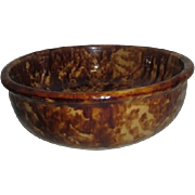 Yellow Ware Bowl with Brown Sponge Accenting