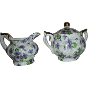 Lefton Hand Painted Small Cream & Sugar with Violets