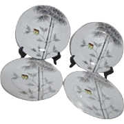 Kutani China Handpainted Platinum Trim Two Owls on Branch 4 Dinner Plates