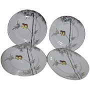 Kutani China Handpainted Platinum Trim Two Owls on Branch 4 Dessert Plates