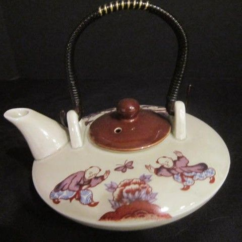 Vintage Small Japanese Tea Pot Decorated with Children and Butterfly