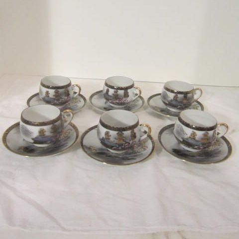 Vintage Porcelain Hand-Painted Demi-tasse Tea Set with Gold Highlights on Village Scene, Geisha Girl Lithophane
