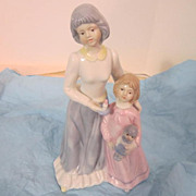 Vintage Ceramic and Bisque Figurine of Mother and Daughter