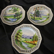 Three Hand-Painted Country Scene Decorator Plates