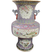 Vintage Chinese Porcelain  Vase with Lavender Background