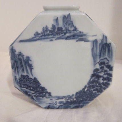 Vintage Porcelain Blue & White Hand Painted Octagon Vase