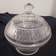 Vintage Clear Glass Raised Design Covered Candy Dish