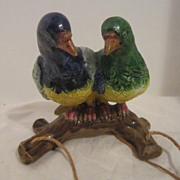 Vintage Porcelain Pair of Parrots Hanging Planter