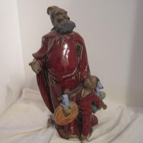 Vintage Chinese Statue Of the Protector of the Children In Clay Signed with Seal Inside