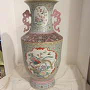 Vintage Porcelain Large Chinese Hand Painted Vase-Signed on Bottom