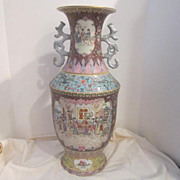 Vintage Large Porcelain Hand Painted Chinese Vase