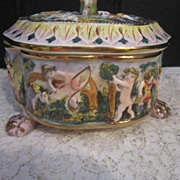 Vintage Capodimonte Footed Vanity Jar with Lid