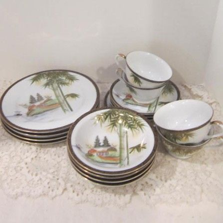 Vintage Oriental Luncheon Set By Kutani