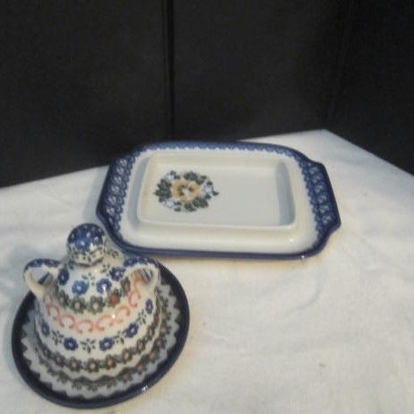 Vintage Polish Butter Dish and Covered Dish
