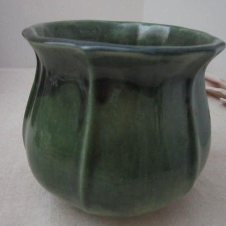 Vintage Green Highly Glazed Bowl From Quyle Kilns