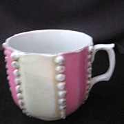 Vintage Old Mustache Cup in Lusterware Ivory and Lavender Pink