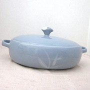 Vintage Covered Light Blue Casserole Dish with White Leaf Design