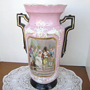 Antique Victorian Pink Vase with Black Handles and Wedding Scene