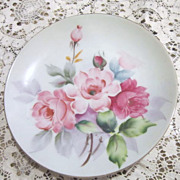 Small Hand Painted Plate with Roses from Occupied Japan
