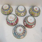 Set of 6 Soup Bowls and Spoons Hand Painted