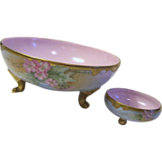 Limoges France 2 Piece Set Hand Painted Bowls by T&V