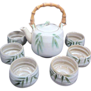 Japanese Tea Set Bamboo Handle on Pot